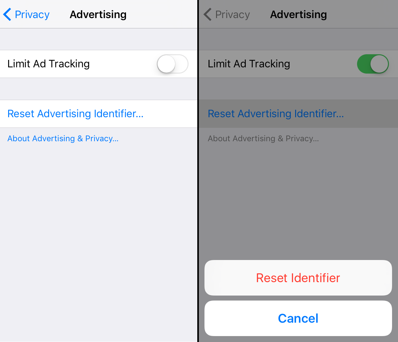 """In Ios 9 And Previous Versions, Selecting €�limit Ad Tracking"""" Meant That  The Os Would Send A €�flag"""" Indicating That That User Had Enabled The Limit  Ad"""