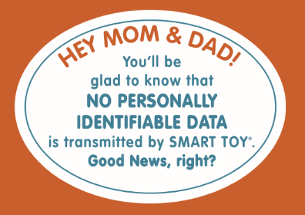 Smart Toy label saying no identifiable data is transmitted.
