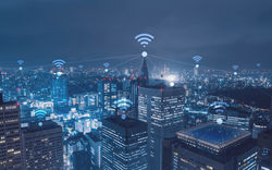 Stock Photo Cityscape With Wi Fi Connection Conceptual Information Communication Technology Concept 479138095