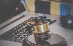 Stock Photo Law Legal Concept Photo Of Gavel On Computer With Legal Books In Background 222579625