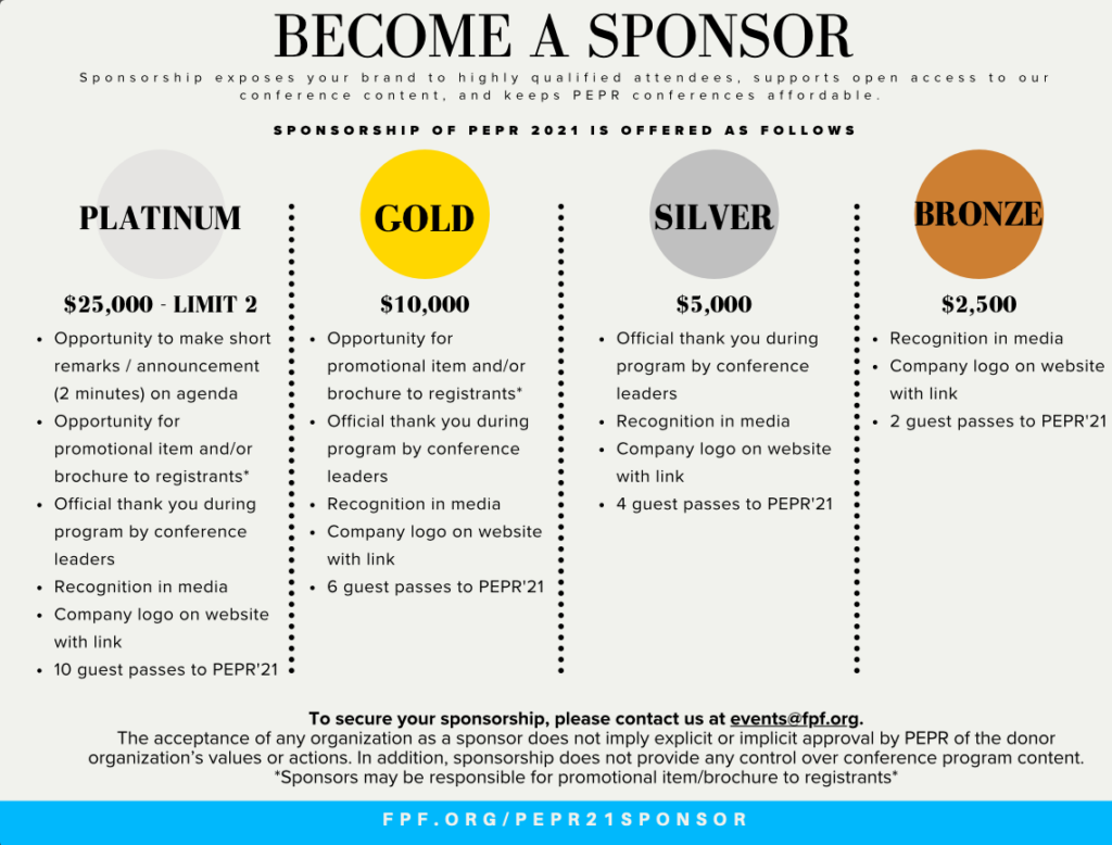 PEPR Sponsorship Packages
